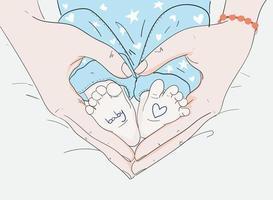mamá toca los pies del bebé, día de la madre vector