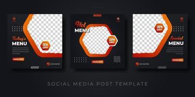 Hot menu social media post set template vector