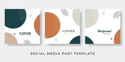 Plantilla de publicación de redes sociales con concepto de naturaleza geométrica vector