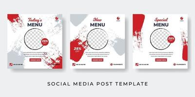Hot food social media post Culinary post collection vector