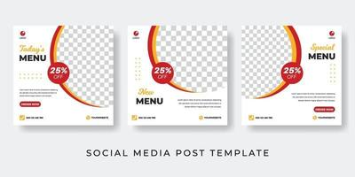 Culinary social media post simple collection with photo space vector