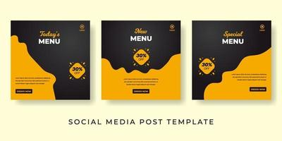 Fast food social media banner Delicious food background template vector