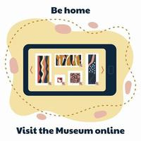 visit the museum online in mobile phone vector