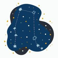 Cute constellation zodiac sign gemini Doodles hand drawn stars and dots in abstract space vector