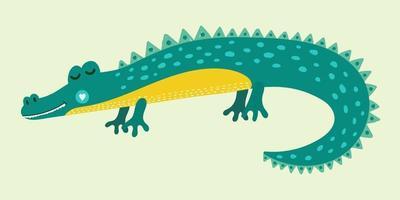 Cute cartoon alligator for kids vector