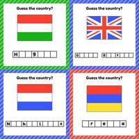 Worksheet on geography for preschool and school kids vector