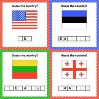 Hoja de trabajo sobre geografía para niños en edad preescolar y escolar. vector