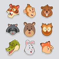 Cute Wildlife Animal Character Sticker Set vector