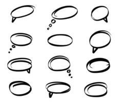 Set Speech Bubble hand drawn vector