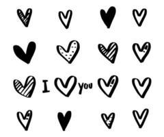 marco en forma de corazón con pintura de pincel amor dibujado a mano vector