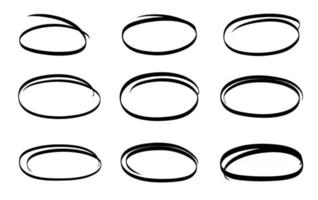 Hand drawn circle line sketch vector set circular scribble doodle round design