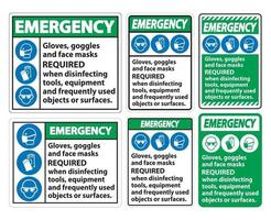 Emergency Gloves Goggles And Face Masks Required vector
