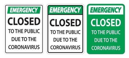 Emergency Closed to public sign vector