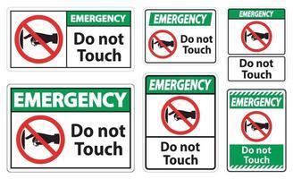 emergencia, no toque, señal vector