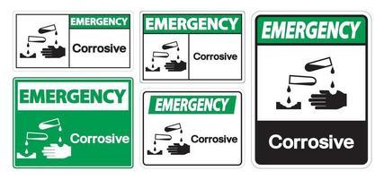 Emergency Corrosive Symbol Sign vector