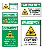 Radiación láser de emergencia no mire fijamente en el letrero de producto láser de clase 2 del rayo vector