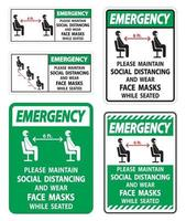 Emergency Maintain Social Distancing Wear Face Masks Sign on white background vector