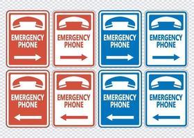 Emergency Phone Right Arrow Sign vector
