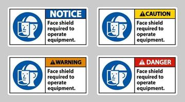 Face Shield Required to Operate Equipment vector