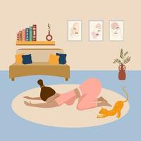 Happy Young Woman and Cute Orange Cat Practicing Yoga in Child Pose. Relax at Home workout vector