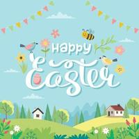 Happy Easter card with lettering and cute landscape Hand drawn flat cartoon Vector illustration