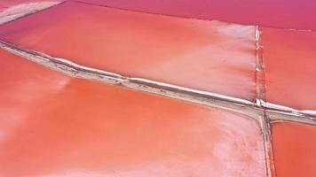 Aerial drone top down photo of a natural pink Lake Kuyalnik in Odessa, Ukraine