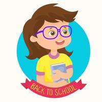 Cute girl happy to back to school vector