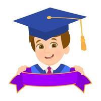 niño graduado feliz sosteniendo una cinta vector