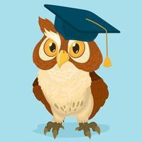 un búho inteligente y orgulloso con un gorro de graduación vector