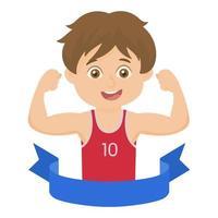 niño corriendo carrera ganador maratón vector