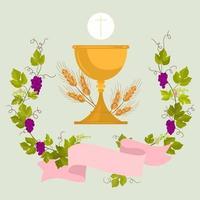 invitación a la copa de la primera comunión y anfitrión de la religión católica vector