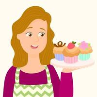 Mom cooking cupcake for dessert vector