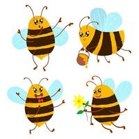 Cute bee set carries honey and flower vector