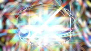 objeto de cristal cintilante sobre um fundo prismático vibrante video