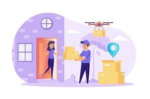 Mensajero que entrega el pedido a casa concepto ilustración vectorial de personajes de personas en diseño plano vector