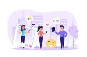 Ilustración de vector de blogs de redes sociales e Internet de personajes de personas en diseño plano