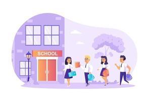 Los niños van a la ilustración de vector de concepto de escuela de personajes de personas en diseño plano