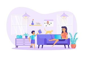 Remote work disadvantages concept vector illustration of people characters in flat design