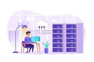 Engineer working at data center concept vector illustration of people characters in flat design