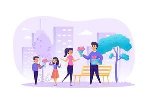 Ilustración de vector de concepto de día internacional de la mujer de personajes de personas en diseño plano