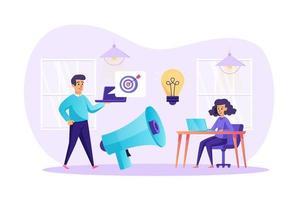 Ilustración de vector de concepto de marketing y promoción publicitaria de personajes de personas en diseño plano