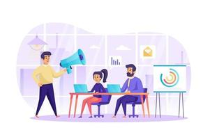 marketing digital y trabajo en equipo en el concepto de oficina ilustración vectorial de personajes de personas en diseño plano vector