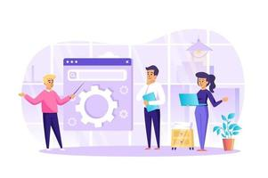 SEO optimization at office concept vector illustration of people characters in flat design