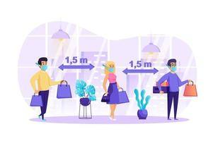 People keep social distancing concept vector illustration of people characters in flat design