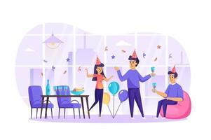 Happy friends celebrate holiday at party concept vector illustration of people characters in flat design