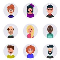 Avatars Different human faces Cute and funny people vector