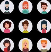 Avatars Different human faces vector