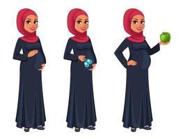 Beautiful pregnant Muslim woman in hijab vector