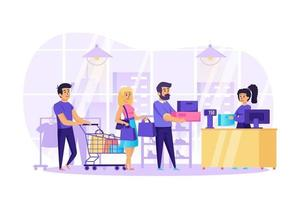 People shopping in store concept vector illustration of people characters in flat design