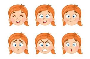 Face expressions of cute little girl vector